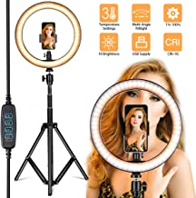 "Villsure LED Ring Light, 10"" Selfie Ring Light with Adjustable Tripod Stand and Phone Holder, Dimmable Led Camera Ringlight for Live Stream/Make Up/YouTube, Compatible with iPhone/Android"