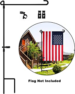 Garden Flag Stand,metal garden flag pole,decorations outdoor flag stand,garden flag holder for fly christmas flag about 13'' W,garden flag holder with Tiger Clip and Spring Stoppers Without Flag