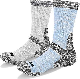 YUEDGE Women's 2 Pairs Multi Performance Hiking Wicking Cushion Crew Socks