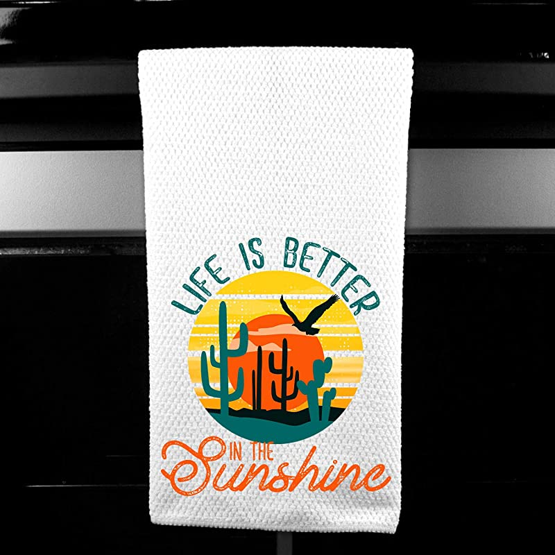 Life Is Better In The Sunshine Cactus Sunset Kitchen Bar Tea Towel