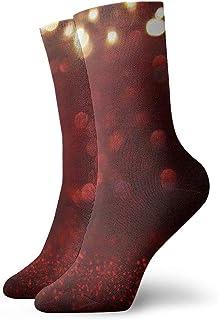 Hunter qiang, Calcetines para mujeres y hombres, con purpurina roja, estilo vintage, con iluminación trasera. Calcetines deportivos desenfoque de 30 cm.