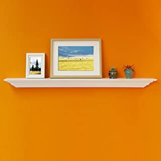 WELLAND White Finished 48 inch Pine Wood Fireplace Mantel Shelf,Corona Crown Molding Floating Wall Picture Ledge Shelves