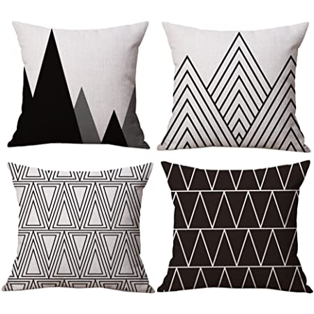 Bluettek Modern Simple Geometric Style Soft Linen Burlap Square Throw Pillow Covers 18 X 18 Inches Set Of 4 Black Home Kitchen