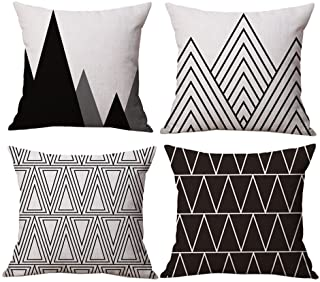 BLUETTEK Modern Simple Geometric Style Soft Linen Burlap Square Throw Pillow Covers, 18 x 18 Inches, Set of 4 (Black)
