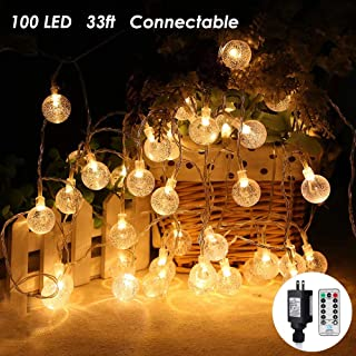 MOICO Globe String Lights, 33Ft 100 LED Plug in String Lights Remote Control Timer Twinkle Fairy Lights 8 Modes Waterproof Decorative Lights for Bedroom, Party, Christmas, Wedding, Garden (Warm White)