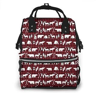 Buffalo Plaid Woodland Multi-Function Travel Backpack Nappy Bag,Fashion Mummy Bag