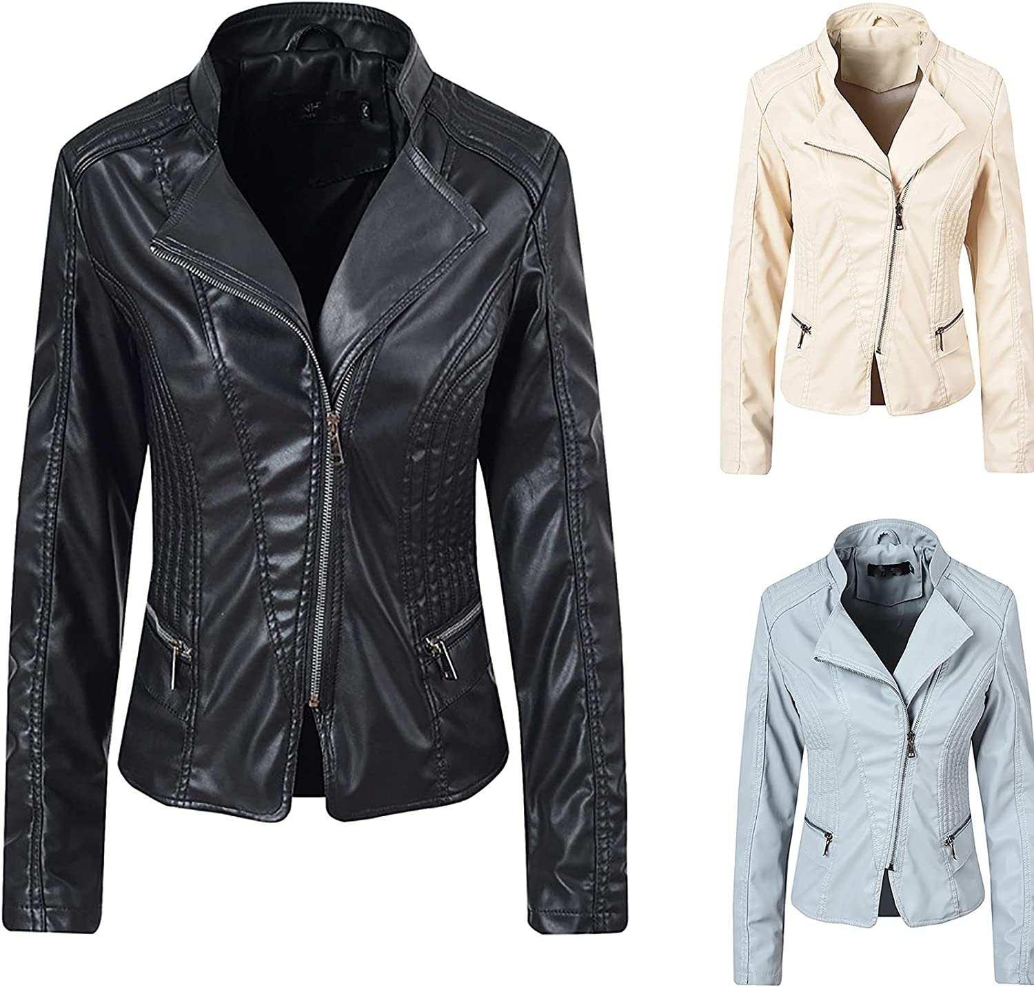 Faux Leather Short Jacket Women Slim Motorcyc Casual Fit service Store Quilted