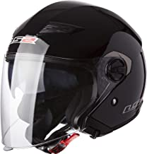 LS2 Helmets 569 Track Solid Open Face Motorcycle Helmet with Sunshield (Gloss Black, Large) - 569-3004