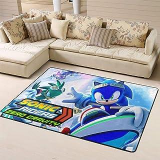 Zmacdk Sonic The Hedgehog - Alfombra de área grande para patio al aire libre, parte trasera antideslizante para dormitorio...