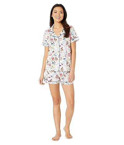 BedHead Pajamas Short Sleeve Classic Shorty Pajama Set (Junk Food) Women
