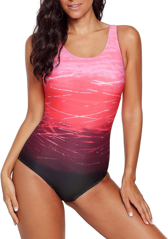 Happy Sailed Women One Piece Swimsuit Athletic Training Racerback Swimwear Bathing Suits(S-XXL)