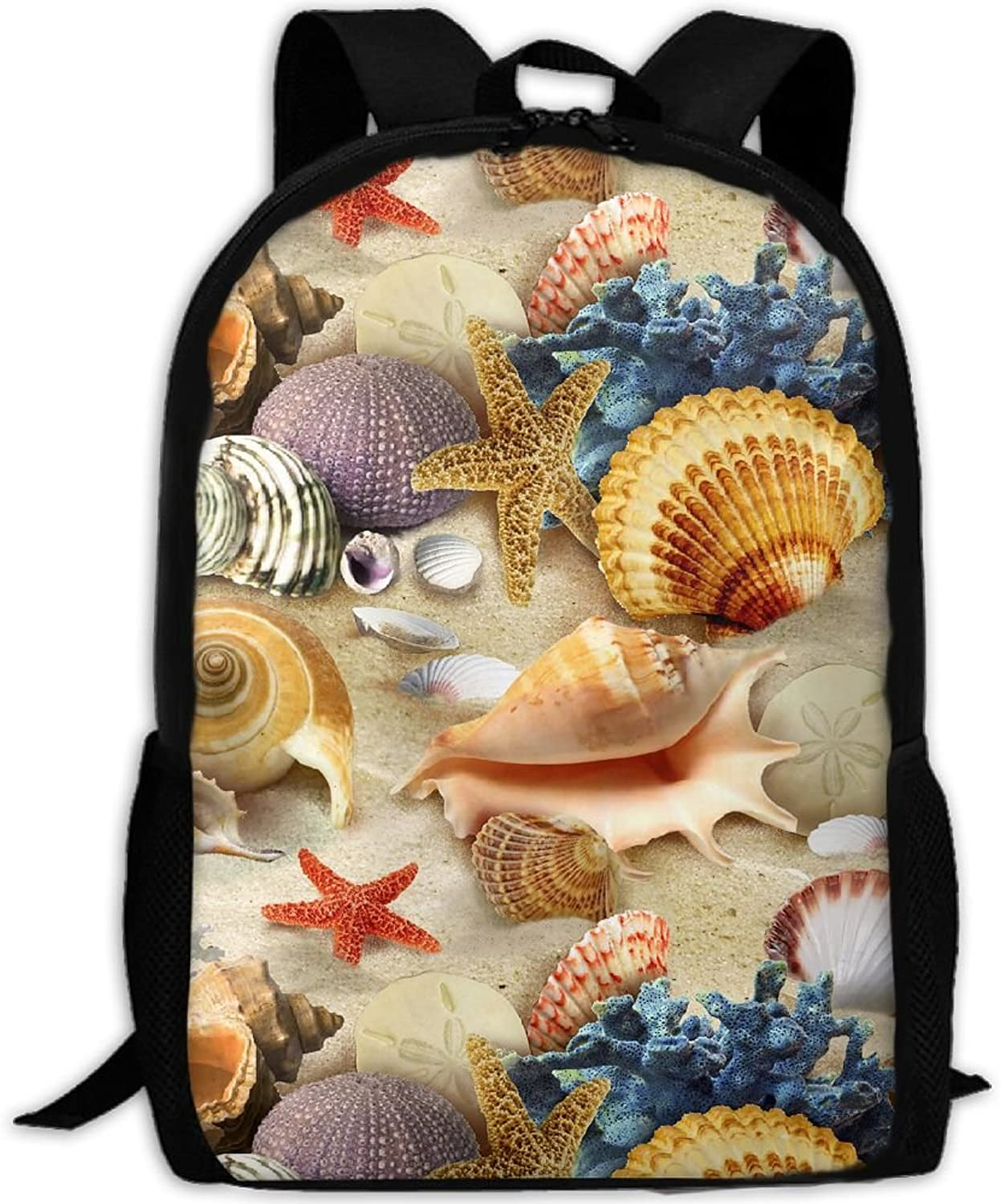 Adult Backpack Starfish Shells Conch and Seaweed College Daypack Oxford Bag Unisex Business Travel Sports Bag with Adjustable Strap