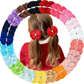 40pcs Baby Girls 4 Inches Grosgrain Ribbon Hair Bows Alligator Clips for Girls Kids Babies Toddlers Teens Gifts In Pairs