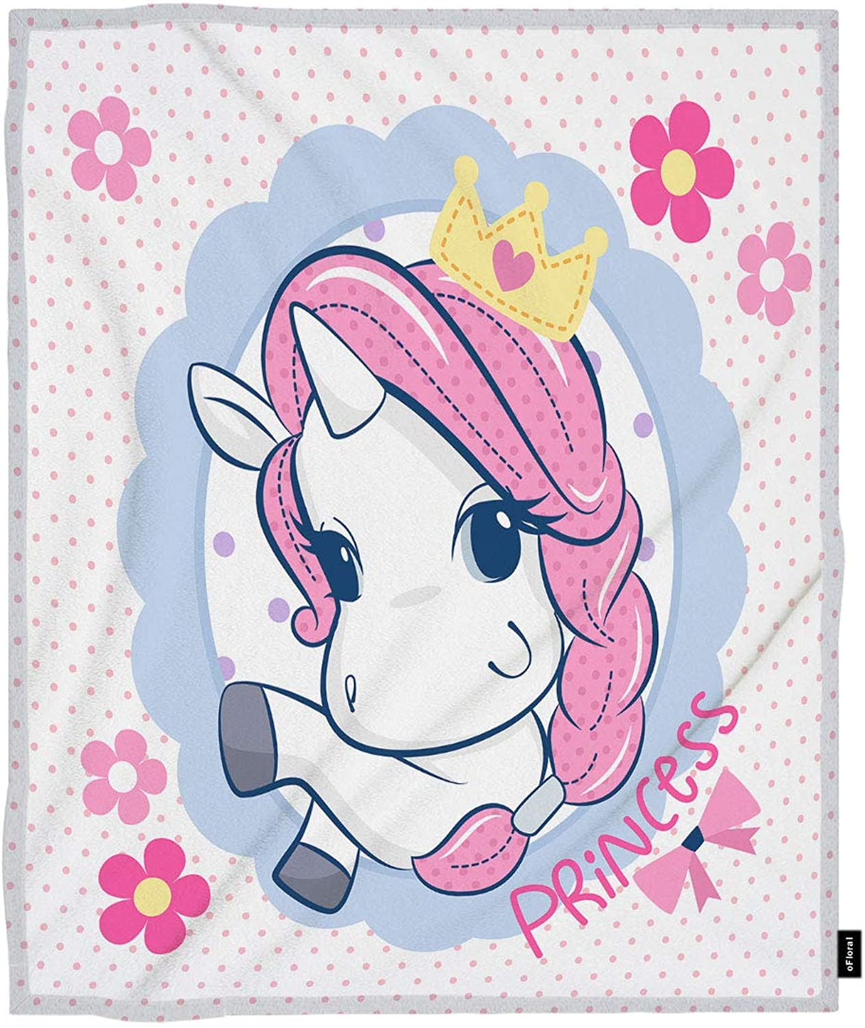 OFloral Unicorn Throw Blanket Princess Unicorn Girl Fairytale Horse Flowers Decorative Soft Warm Cozy Blankets Home Decor for Bed Chair Sofa Couch 50x60 Inch
