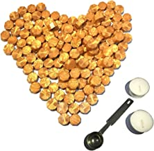 Gold Sealing Wax Beads, [Other Colors Also Available], Botokon 150 Pieces Octagon Wax Seal Beads Kit with a Wax Melting Spoon and 2 Pieces Candles for Wax Seal Stamp (Gold)