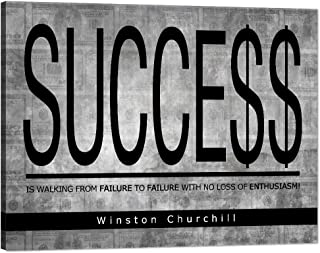 "Success Winston Churchill Motivational Wall Art Inspirational Entrepreneur Quotes Canvas Painting Inspiring Successful Hustle Pictures Posters Prints Artwork Decorations for Home Office (18""Hx24""W)"