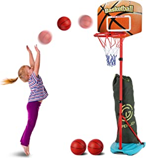 AOKESI Basketball Hoop for Toddler and Kids Set, Adjustable Height from 2.7 to 6.3 feet, Indoor Basketball Toys Products f...