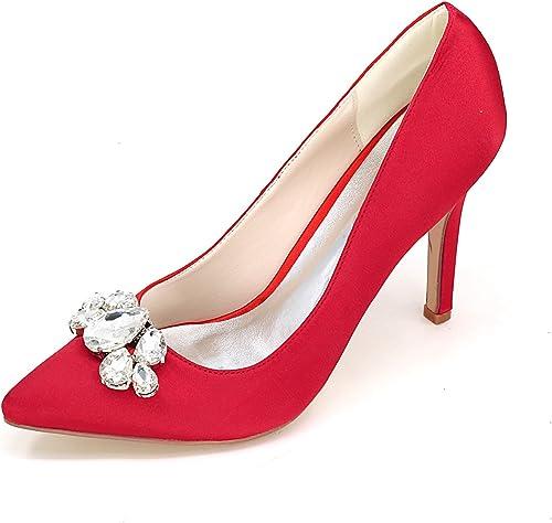 Qingchunhuangtang@ Chaussures de mariage élégant chaussures demoiselle a fait de hauts talons satin rhinestones avec une seule grande taille chaussures chaussures unique