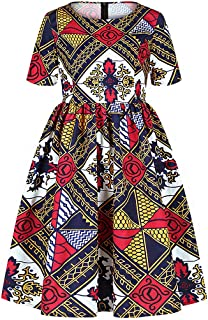 Multifit Bohemian African Floral Print Pleated Dress Casual Short Midi Dress for Girls Kids Toddler