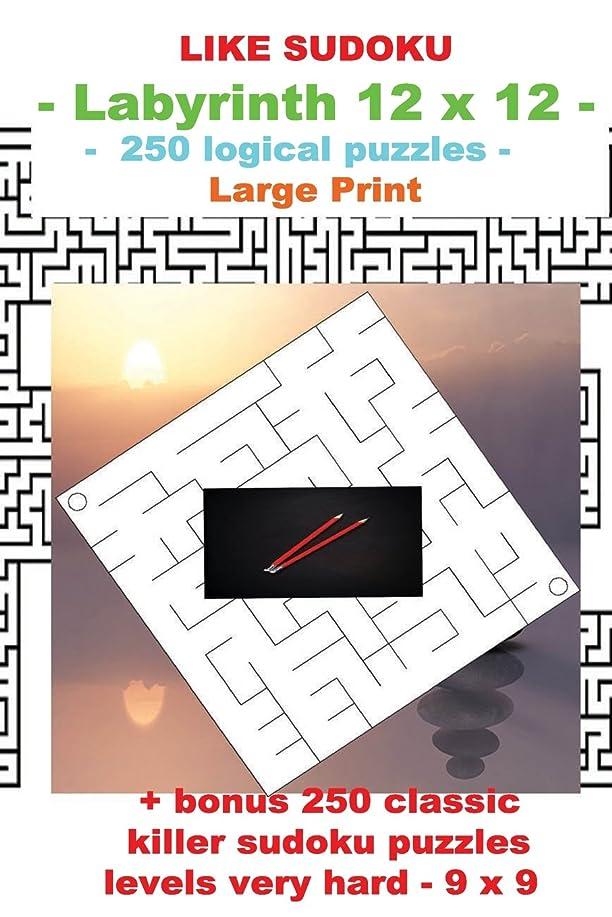 フルート第九アリスLIKE SUDOKU - Labyrinth 12 x 12 - 250 logical puzzles -: Large Print + Solutions + bonus 250 classic killer sudoku puzzles levels very hard - 9 x 9 (PITSTOP Puzzle Bonus)