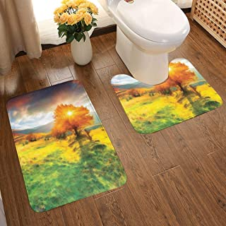 Bathroom Rugs 2 Piece Bath Mat Contour Curved Set,Fall Season Illustration with Mountains and Meadows in Sunset Watercolor Effect,Soft Absorbent Non-Slip Shower Rug & U-Shaped Toilet Mat