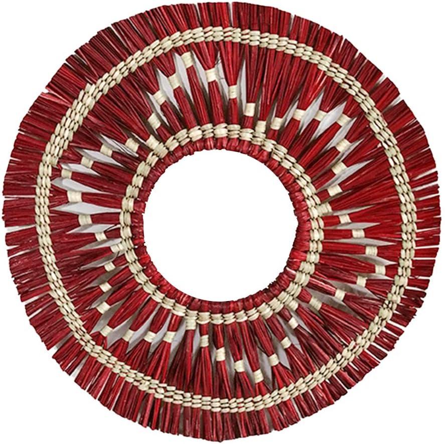 TOPofly Espejo de Pared Tejida Hecha a Mano Que cuelga de Maquillaje Rattan montado en la Pared roja Redonda para el Dormitorio de la Sala