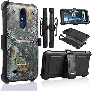 for 5.3 Inch LG K30 Case,LG Premier Pro LTE Case, LG Phoenix Plus Phone Case Cover with Screen Protector Clip Holster Kickstand Grip Sides Shock Bumper Armor (Camo)