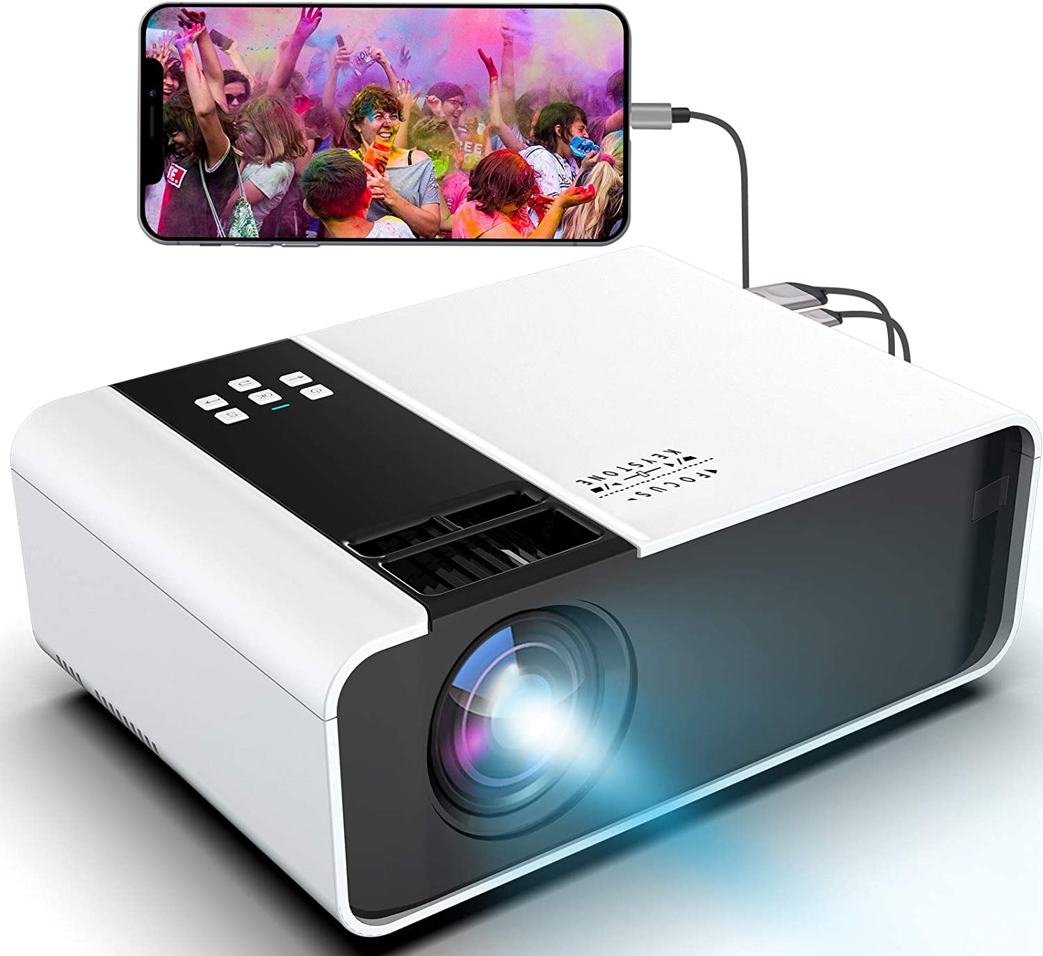 Mini Portable Movie Projector 1080P-Supported - Jimwey Full HD Outdoor Video Projector, with 50000 Hrs LED Lamp Life, Compatible with TV Stick, PS4, HDMI, USB, AV for Home Cinema [2021 Upgraded]