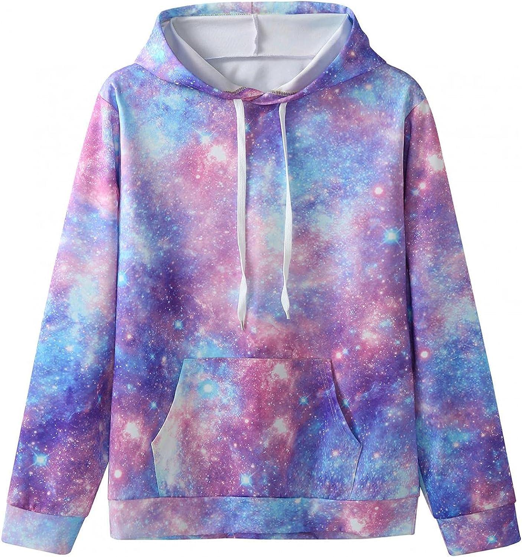 Huangse Men's 3D Print Nebula Galaxy Hoodie Long Sleeve Athletic Hoodies Lightweight Gym Workout Shirts with Kangaroo Pocket