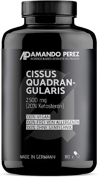cissus quadrangularis estratto 2500 mg - 20% di chetosterone (180 capsule vegane)  amando perez ap1587