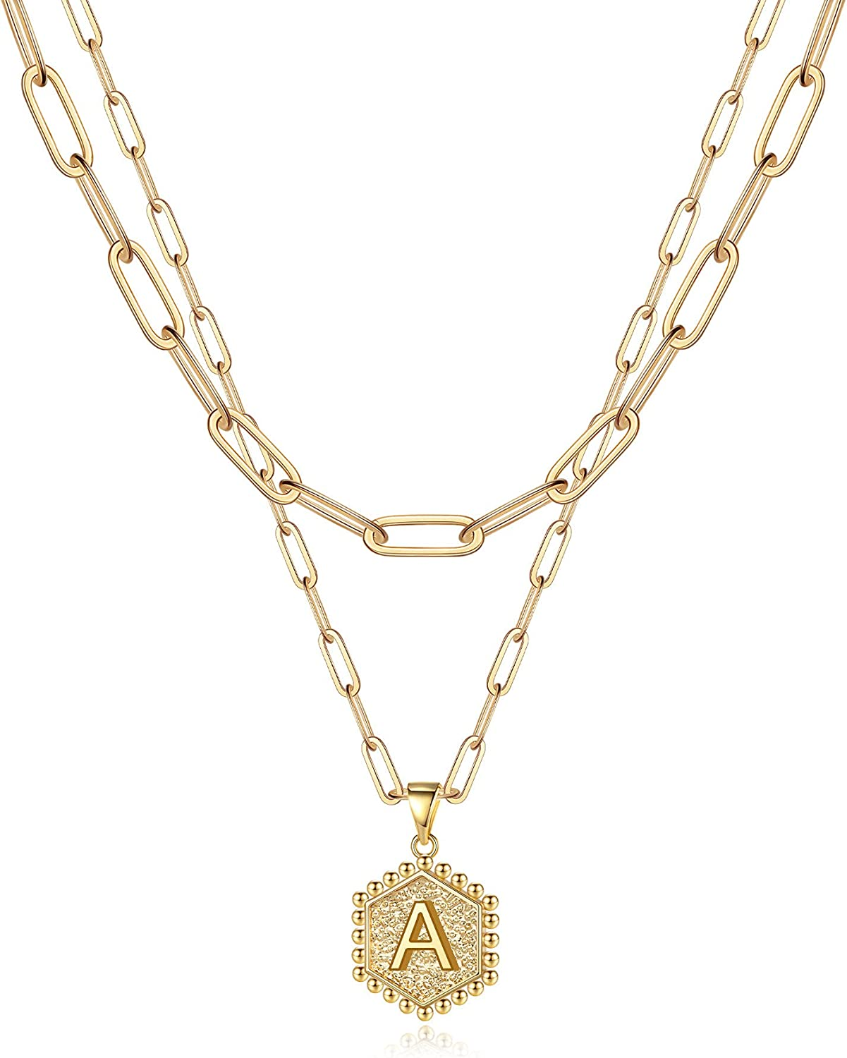 Anoup Gold Layered Necklaces for Women, 14K Gold Plated Paperclip Chain Necklace for Women Dainty Gold Necklace Hexagon Letter Pendant Initial Necklace Layering Necklaces Gold Necklaces for Women
