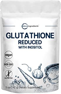 Glutathione Supplement, Pure Glutathione Reduced Powder with Inositol, 5 Ounce, Most Powerful Ingredients for Antioxidants, Supports Liver Function and Immune System, Non-GMO and Vegan Friendly