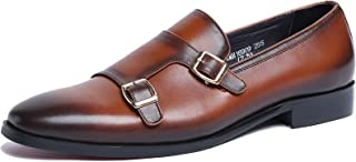 GYPING Chaussures Hommes Monk Casual Smart Retro Cuir véritable Double BoucleChaussures Confortables Robe,Brown-40(UK7)