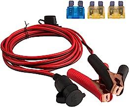 DEDC Battery Clip On Plug Socket 3m/10FT 12V/24V Cigarette Lighter Adapter Cable with Fuse Holder for Car Battery Portable Air Compressor Power Inverter 1Pc