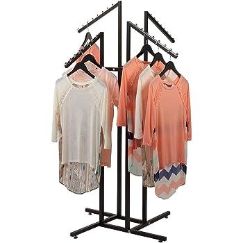 SSWBasics 4 Way Clothing Rack with Slanted Arms - Black