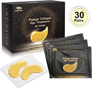 Under Eye Patches, POPPYO 24K Gold Eye Treatment Mask, Collagen Eye Mask, with Anti-aging and Wrinkle Care Properties, Reducing Dark Circles Puffiness Undereye Bags(30 Pairs)