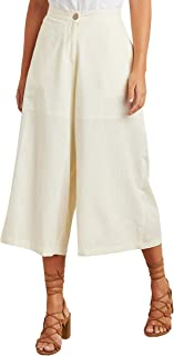 Solid Button Closure Wide Leg Culottes For Women Sassafras by Styli
