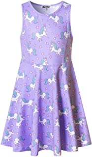 Jxstar Girls Unicorn Dresses Rainbow Kid Sleeveless Party Floral Print 3-13Years