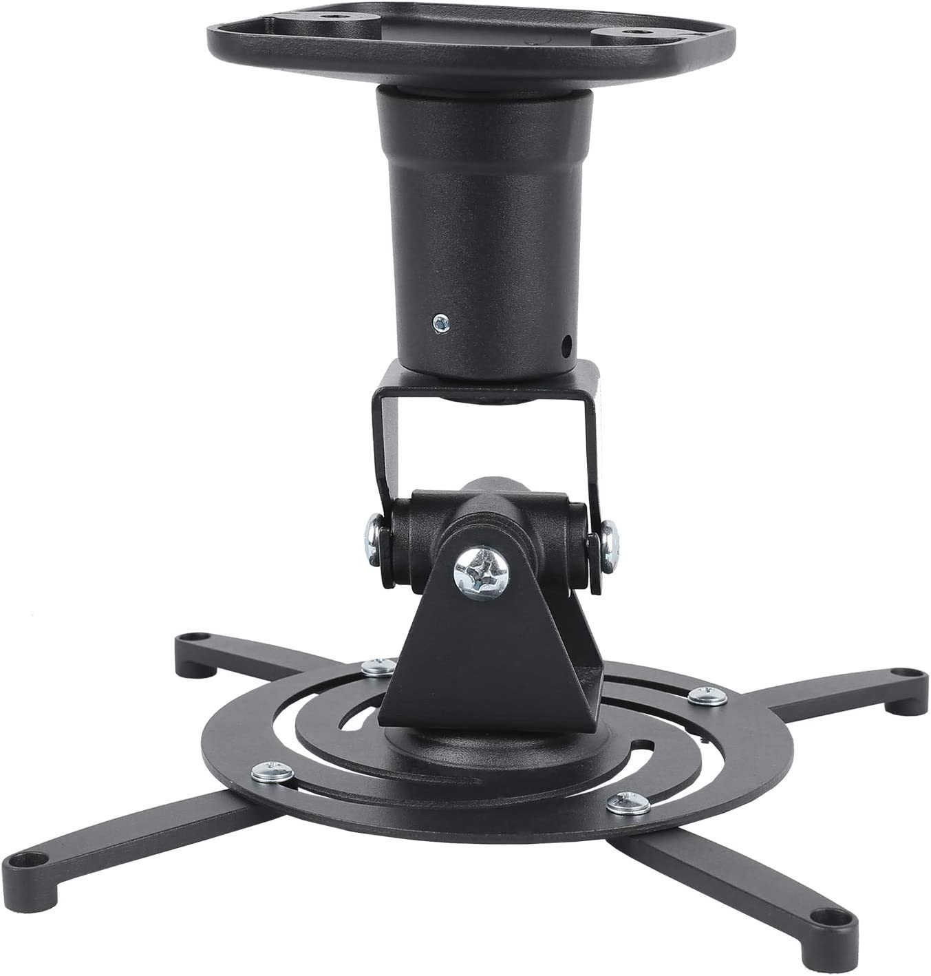 DYNAVISTA Full Motion Universal Ceiling Projector Mount Bracket with Adjustable Extendable Arms Rotating Swivel Tilt Mount for Home and Office Projector (Black)