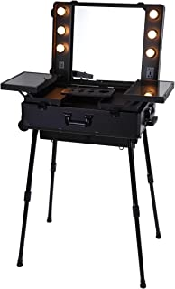 Maylan Makeup Train Stand Case With Pro Studio Artist Trolley And Lights, Black - Large