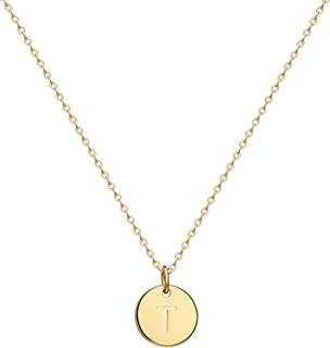 """Gold Initial Pendant Necklace, 14K Gold Filled Disc Double Side Engraved 16.5"""" Adjustable Dainty Personalized Alphabet Letter Pendant Handmade Cute Tiny Necklaces Jewelry Gift for Women"""