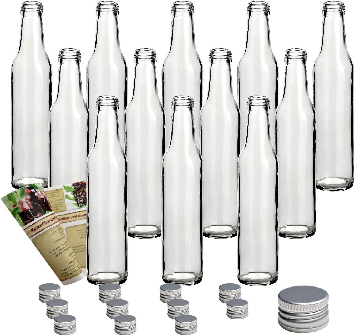 guoveo - 12 Botellas de 250 ml con tapón de Rosca Plateado, Botellas de Vidrio vacías