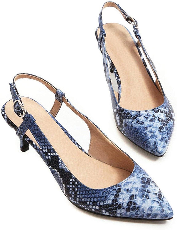 Coolemon High Heels shoes Women Snake Print Thin High Heels Slingbacks shoes Buckle Pointed Toe Ladies Pumps Spring Big Size 4-12