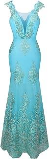 Women's V Neck Embroidery Lace Flower Straps Mermaid Wedding Dress