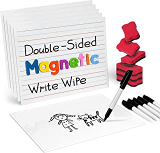 Gamenote Magnetic Small White Board Set - Double Sided Magnet Dry Erase Ruled Lap Boards 9x12 Lined Whiteboard for Kids St...