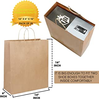 Brown Kraft Paper Bags with Handles - 14 X 6 X 16 ADDINGSTONE Heavy-Duty Party Favor, Gift Wrapping and Merchandise Bag - Eco-Friendly and Biodegradable Packing Supplies for Shopping (Pack of 25)