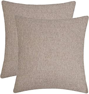 Jepeak Comfy Throw Pillow Covers Cushion Cases Pack of 2 Cotton Linen Farmhouse Modern Decorative Solid Square Pillow Cases for Couch Sofa Bed (Light Coffee, 20 x 20 Inches)