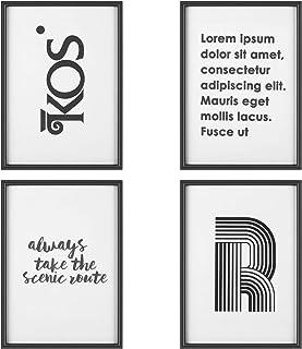 PEDY Juego de 4 Marcos de Fotos Frases (MDF + Cubierta de Cristal A4) Numerosas Posibilidades de diseño para decoración de Espacios y Tiendas, Color Negro