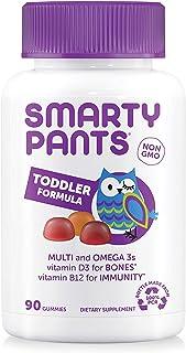 SmartyPants Toddler Formula Daily Gummy Multivitamin: Vitamin C, D3, & Zinc for Immunity, Gluten Free, Omega 3 Fish Oil (EPA & DHA), B6 & Methyl B12 for Energy, 90 Count (30 Day Supply)