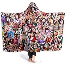 Garlic Broccoli Flannel Fleece Throw Blanket Ahegao Anime Printed Velvet Throw Blanket Ultra-Soft Blanket Sexy Girl Face Bed Blanket,80